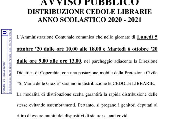 Pellezzano – distribuzione cedole librarie anno scolastico 2020-2021