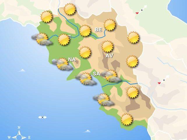 Meteo domani, in Campania cieli poco nuvolosi con nubi in aumento nel pomeriggio