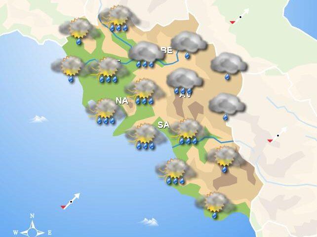 Meteo domani, fenomeni di pioggia al mattino e pomeriggio in Campania