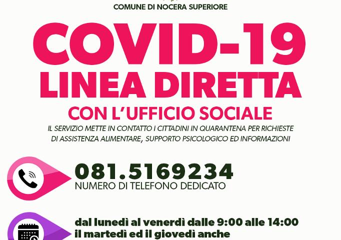 CODIV-19 A NOCERA SUPERIORE: LINEA DIRETTA CON L'UFFICIO SOCIALE PER I CITTADINI IN QUARANTENA