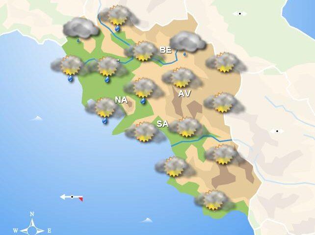 Meteo domani, nuvolosità irregolare con pioggia all'interno della Campania
