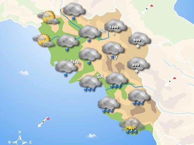Meteo domani, in Campania piogge diffuse sul territorio con temporali in serata