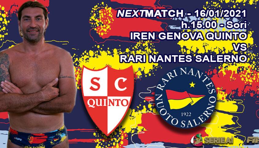 Sfida verità in trasferta per la Rari Nantes Salerno contro l'Iren Genova Quinto