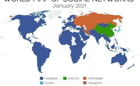 Nuova mappa social network, il mondo diviso in 3 blocchi