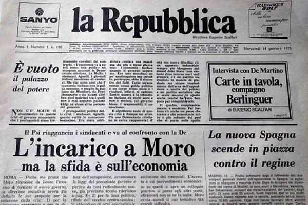 """Accadde oggi: il 14 gennaio 1976 nasce il giornale """"La Repubblica"""""""