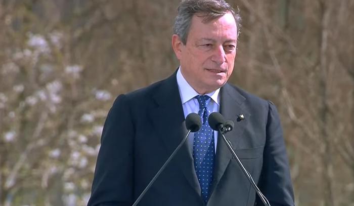 """Draghi da Bergamo: """"Lo Stato c'è e ci sarà sempre"""""""