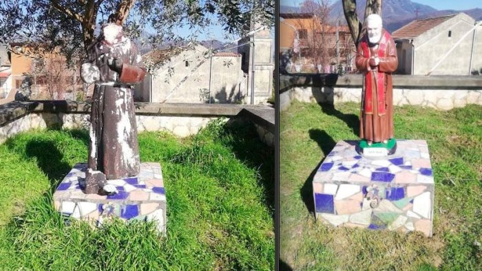 Mercato San Severino, vandali a Oscato: distrutta statua di Padre Pio