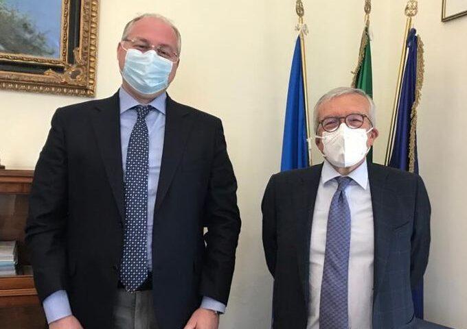 Michele Strianese incontra il presidente di Confindustria Salerno Antonio Ferraioli a Palazzo Sant'Agostino