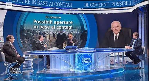 """De Luca a Porta a Porta: """"Su Sputnik non cambio idea,  3 milioni di dosi prenotate. Vaccini completi prima per le isole"""""""