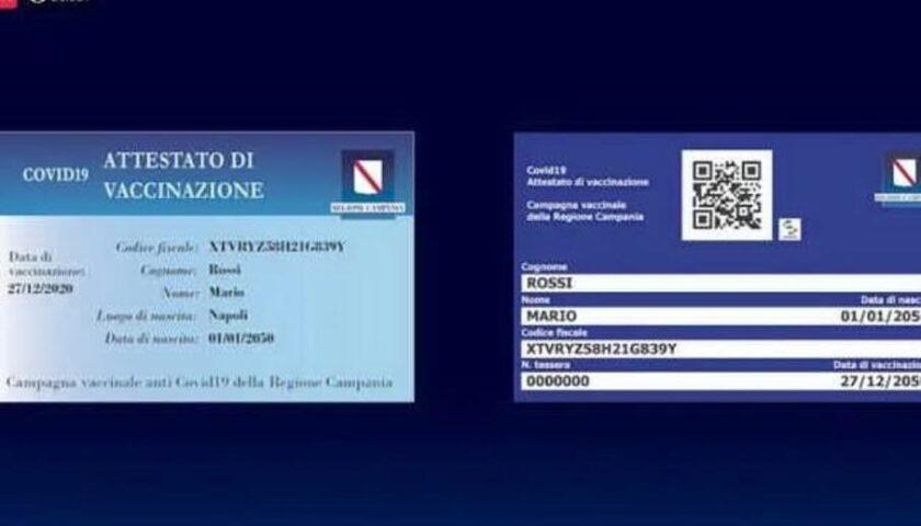 COVID-19, IN CAMPANIA IN CORSO CONSEGNA 250MILA CARD DI AVVENUTA VACCINAZIONE