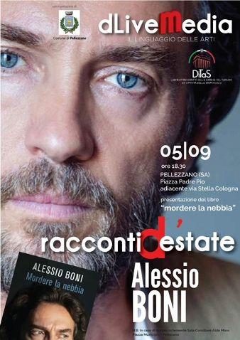 """ALESSIO BONI OSPITE DEI """"RACCONTI   D'ESTATE""""  IN PIAZZA PADRE PIO A PELLEZZANO"""