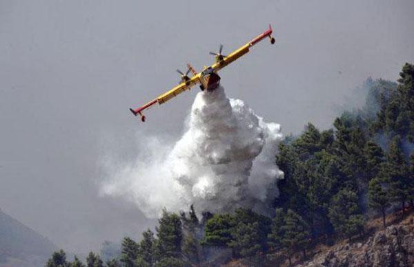Salerno, in fiamme colline sopra Sant'Eustachio: canadair in azione