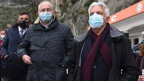 Il presidente della Provincia di Salerno Strianese e il sindaco Napoli mercoledì sul cantiere dalla SP 129/b