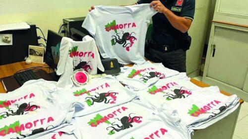 Sequestrate a Napoli T-shirt con il logo della camorra